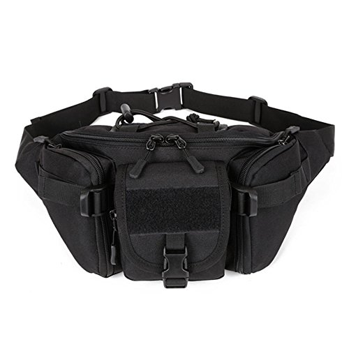 SINAIRSOFT Tactical Waist Pack, Army Military Fanny Pack, Outdoor Hiking Hunting Fishing Running Camping Travel Hip Belt Bag Black