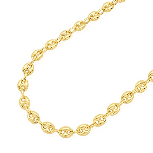 14K SOLID Yellow Gold 6.65MM Puff Mariner / Marina Chain Necklace - Puff Anchor chain-24