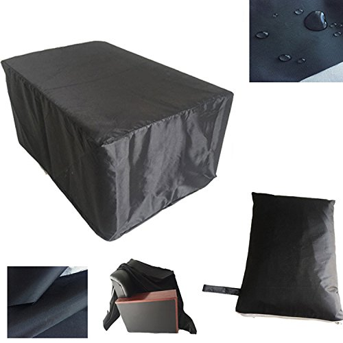 Furniture Cover Waterproof 420D Oxford Garden Patio Deck Outdoor Table Cover Large Round Furniture Set Cover HZC01-US 48'' Lx 48'' W x 29'' H (123cm x123cm x 74cm) Black by Hersent
