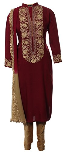 AzraJamil-Celestial-Beauty-Cotton-Embroidered-Churidar-Suit-Maroon