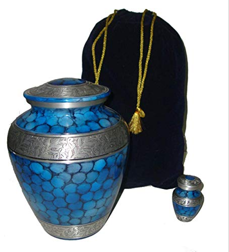 - High End.Ex Premium Set Cremation Urn for Human Ashes- Keepsake\2 Velvet Bags- Large Blue Ocean and Silver Adult Funeral Urn-Handcrafted with Elegant Finishes to Honor and Remember Your Loved
