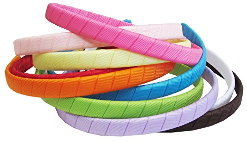 "HipGirl Girl / Women Grosgrain Ribbon Wrapped Headbands Fashion Accessory--10pc Assorted Bright Color, 1/2"" Inch Wide"