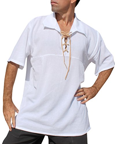 Raan Pah Muang Big Poets Fold Down Collar Short Sleeve Renaissance Shirt, Small, White with Brown (Thai Queen Costume)
