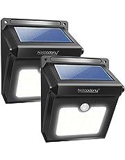 Neloodony Luci Solari, Lampade Solari da Esterno 28 LED con Sensore di Movimento Illuminazione, Luci Wireless di Sicurezza Resistenti all'Acqua per Parete, Giardino,Patio, Ponte, Cortile (2 Pack)