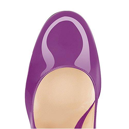 Rond À Ubeauty Talons Bloc Femmes Talon Bout Violet Cm Escarpins Hauts Femme Chaussures 10 BcZ1YWZq