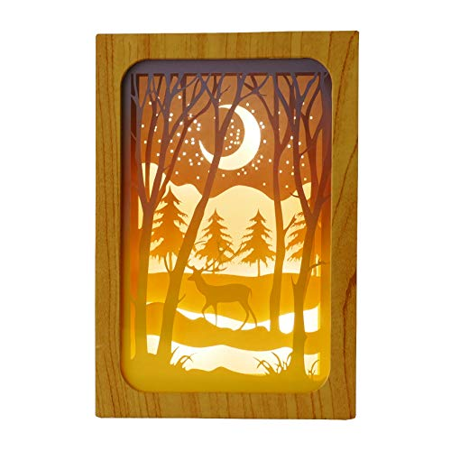 NIKKY HOME Christmas Deer in The Forest at Night LED Paper Cut Shadow Light Box