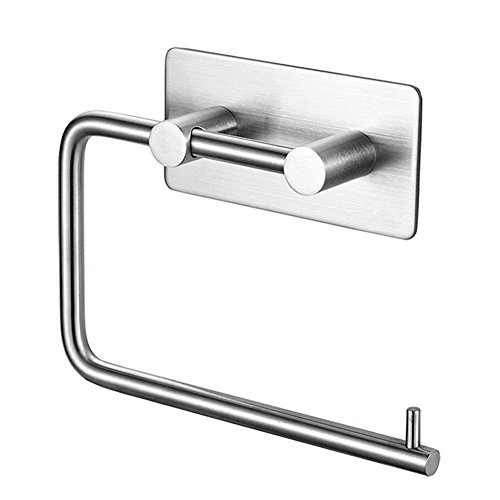 Self Adhesive Toilet Paper Holder, SUS 304 Stainless Steel Lavatory Towel Holder for Bathroom and Kitchen (Brushed Nickel)