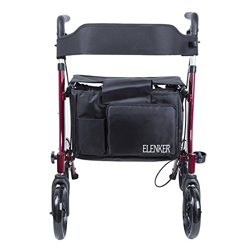 ELENKER Medical Euro Style Four Wheel Walker Rollator Red by ELENKER (Image #4)