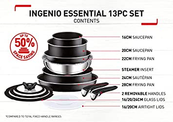 Tefal T-Fal 280975 Ingenio Essential Non Stick Cookware Set with Pan Set, 13 Pieces – Black