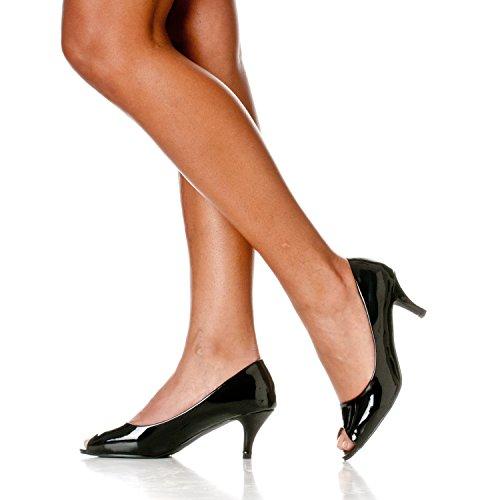 Kitten Heel Pumps Toe Lydia Open Riverberry Peep Women's Patent Black wf0nXaxqO