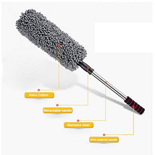 Lupure Car Big Duster Wash Brush, Long Retractable/Soft/Non-Slip/Handle to Trap Dust and Pollen Microfiber,Grey by Lupure (Image #4)