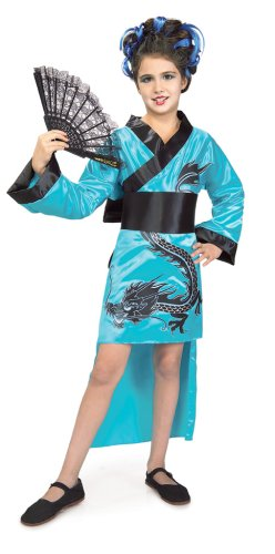 Child's Teal Dragon-Lady Costume, Small
