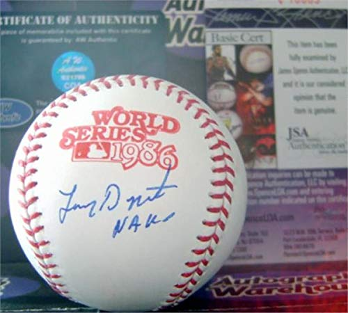 Lenny Dykstra autographed baseball 1986 World Series inscribed Nails (OMLB New York Mets Champion) JSA authentication certificate