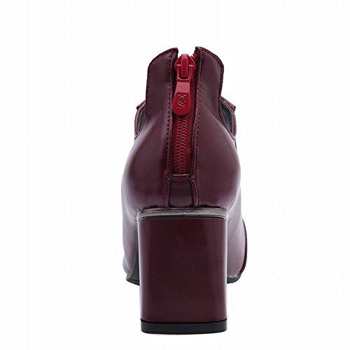 Charm Charm Womens Fashion Tacco Grosso Stivaletto Alla Caviglia Rosso Vino