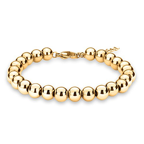 ZINDOV Jewelry Wedding Bridal Stylish Beaded Bracelet in Stainless Steel Balls Chain Great Gift for Women Men Young Adults Color Tone 18K Yellow Gold Plated