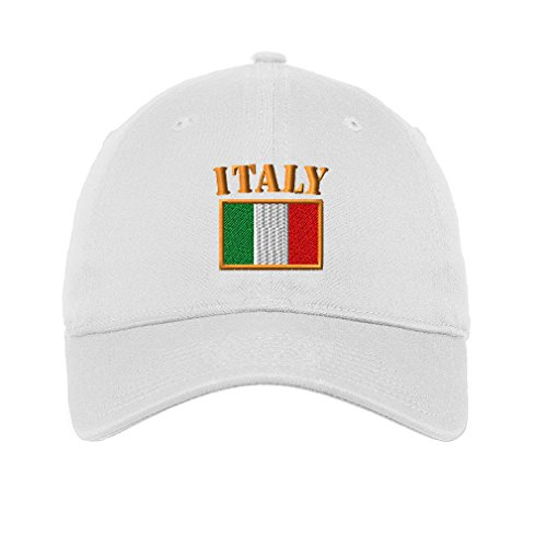 Italy Flag Twill Cotton 6 Panel Low Profile Hat White