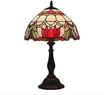 Estilo Tiffany Lámparas de mesa Flores rojas Lámpara Sombra 1 ...