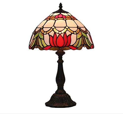 Estilo Tiffany Lámparas de mesa Flores rojas Lámpara Sombra ...