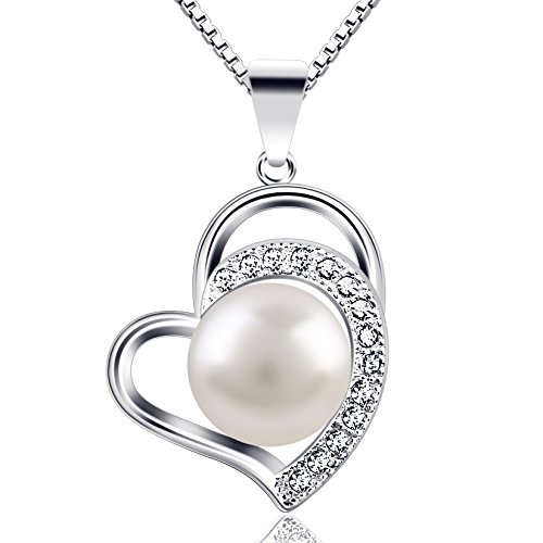 B.Catcher Womens Necklace Pearl 925 Sterling Silver Pendant Cultured Freshwater Pearl Necklace,18''