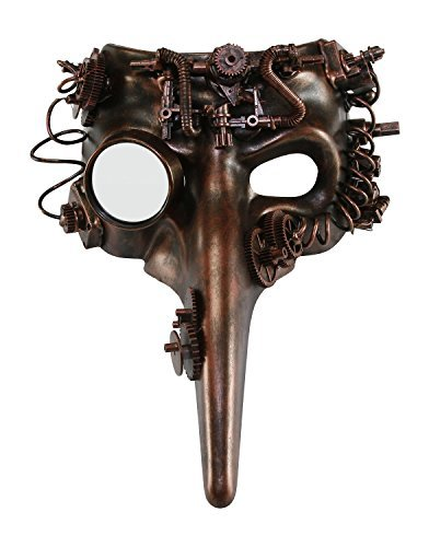KAYSO INC The Plague Doctor Victorian Steampunk Bauta Full Face Masquerade Mask (Rustic Bronze) -