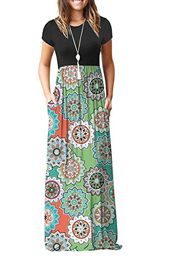 MISFAY Women Short Sleeve Loose Plain Maxi Dresses Casual Long Dresses Pockets (Round Green, L)