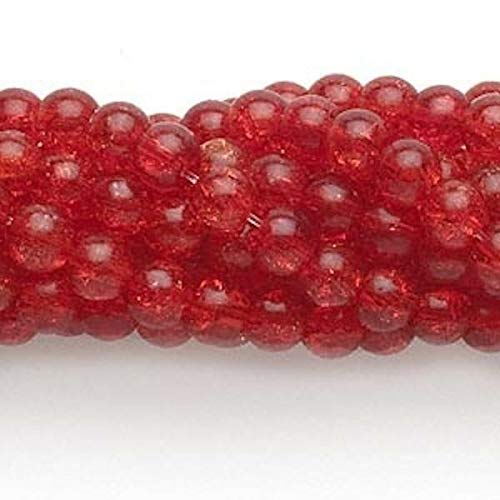 Wholesale 10 Strands 5-6Mm Ruby Red Crackle Glass Round Beads
