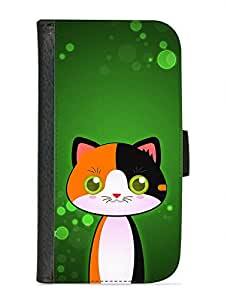 Case Fun Samsung Galaxy S3 (i9300) Faux Leather Wallet Case - Calico Cat by DevilleART