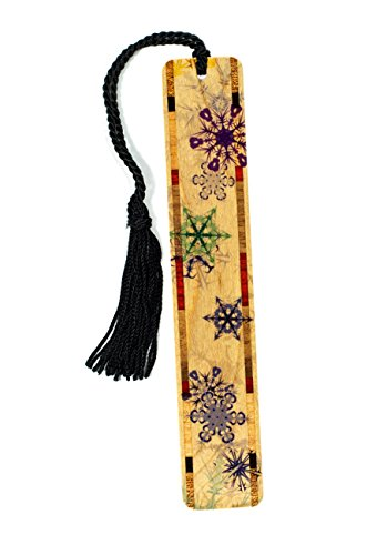 Snow Flakes in Color - Winter Scene - Wooden Bookmark with Tassel -