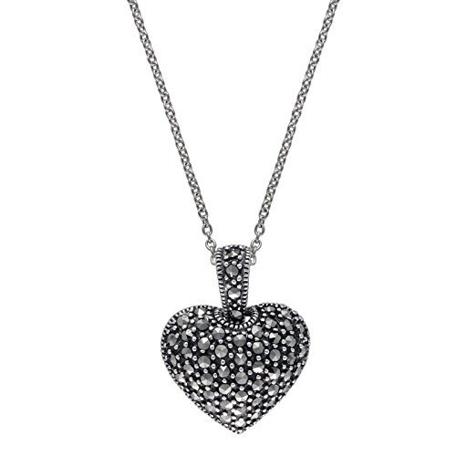 Marcasite Sterling Silver Jewelry Set - Aura by 925 TJM Sterling Silver 0.599 cttw Pyramid-cut Marcasite Pendant in 18