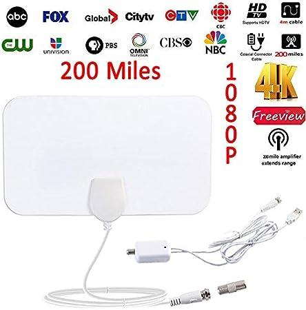 Rabusion Antena Digital de TV 1080P HD Antena 4 K 100 Millas ...