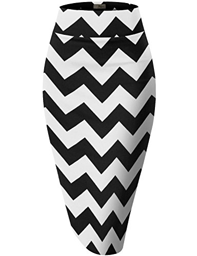 Womens Pencil Skirt for Office Wear KSK43584X 10617 Black/Whit 2X