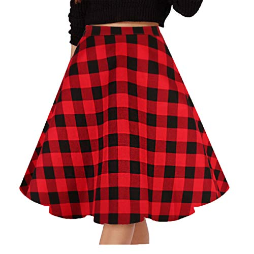 Musever Women's Pleated Vintage Skirts Floral Print Casual Midi Skirt A-Black-red Plaid XL ()