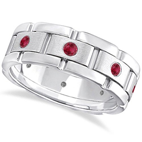Mens Wide Band Ruby Eternity Wedding Ring with 8 Rubies 18kt White Gold (0.80ct) -