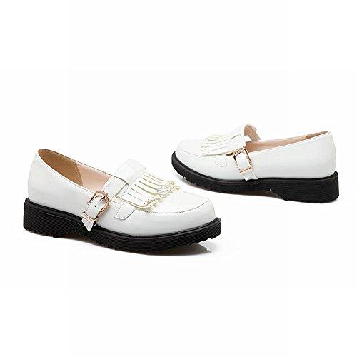 Spectacle Brillance Mode Féminine Boucle Glands Mocassins Appartements Chaussures Blanc