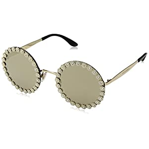 Dolce & Gabbana Women's Daisy Round Sunglasses, White/Gold, One Size