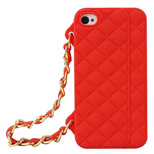 KRYSTALH Soft Silicone Case Cover for Iphone 5 5S Plaid Pattern Purse Wallet Design Case with Gold Chain Shoulder Strap (Red Iphone 5 5S Cover)