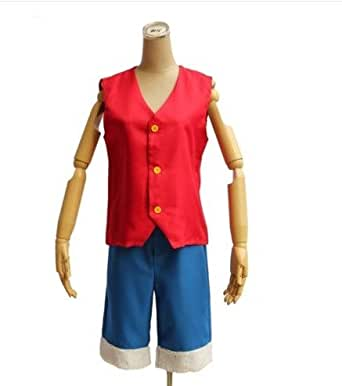 Japanese Anime cosplay costumes OnePiece Straw Hat Luffy(This cosplay package includes Luffy's Red Vest and signature blue pants)-S