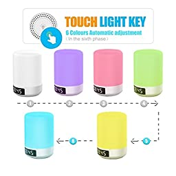 Keynice LED Bluetooth Speaker, Bedside Lamp, Touch Sensor Table Lamp, Dimmable Warm White Light & Color Changing RGB+ Multicolor Dimmable Night Light, Alarm Clock, Hands-free, Timing Function - White