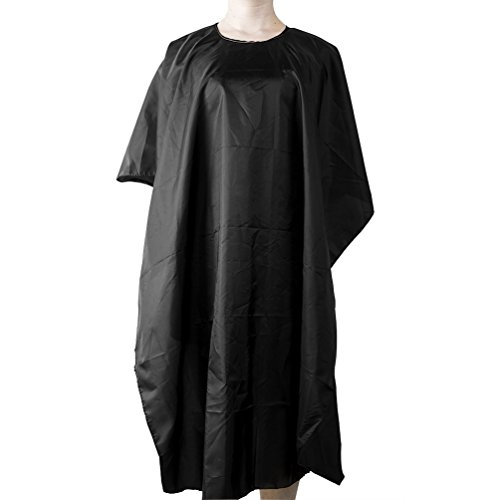 ELFINA Salon Hair Cut Cutting Nylon Cape Hairdressing Gown Barbers Cape, Black, Size 45