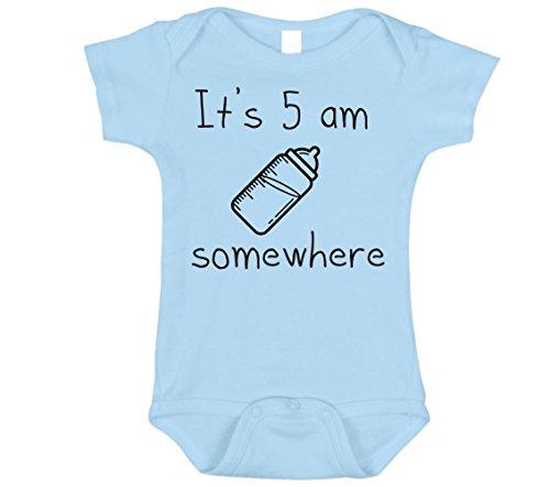 Graphic Onesie - Bebe Bottle Sling It's 5AM Somewhere Onesie, Funny Shower Gift, Blue 3-6 MO