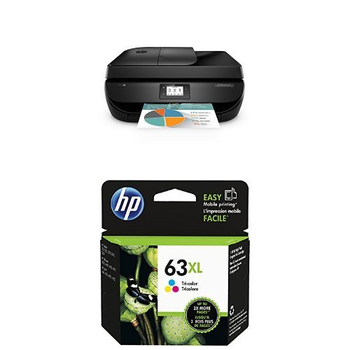 HP OfficeJet 4650 Purple and HP 63XL Tri-color High Yield Original Ink Cartridge Bundle by HP