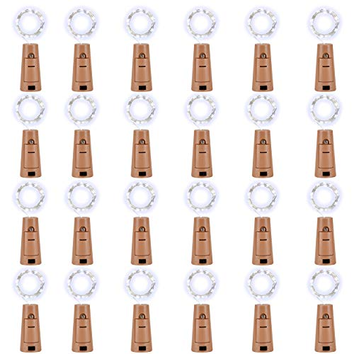 LEDIKON 24 Pack 20 Led Wine Bottle Lights with Cork,3.3Ft Silver Wire Cool White Cork Lights Battery Operated Fairy Mini String Lights for Wedding Party Wine Liquor Bottles Crafts Christmas Decor
