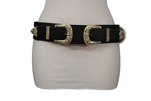 Stud Belt Double - TFJ Women Western Elastic Belt Hip Waist Gold Double Buckles Plus M L XL Black