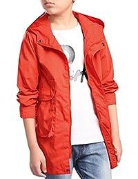 JiaYou Kid Child Boy Hooded Solid Long Sleeve Zip Outwear Trench Coat Jacket