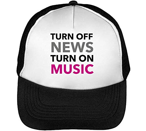 Snapback News Turn On Off Gorras Blanco Turn Hombre Negro Young Music Beisbol Slogan Stylish Life ZwfPn45q