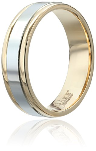 Mens-Keepsake-Signature-14k-Two-Tone-Gold-6mm-High-Polished-Wedding-Band