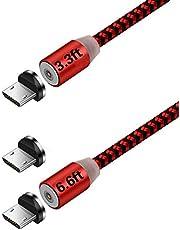Ruibo Sike magnétique Micro USB Câble en Nylon tressé, magnétique à Haute Vitesse avec câble USB de Chargement LED Light (Lot de 20,9m 1,8m Rouge)