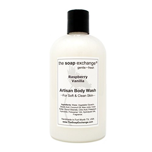 - The Soap Exchange Body Wash - Raspberry Vanilla Scent - Hand Crafted 12 fl oz / 354 ml Natural Artisan Liquid Soap for Hand, Face & Body, Shower Gel, Cleanse, Moisturize, Protect. Made in the USA.