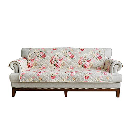 """Sobibo Reversible Anti-Slip Couch Cover Sofa Slipcover for 2 Cushion with Elastic Strap Furniture Protector, Seat Width Up to 46"""" (Loveseat, Blooming Flower)"""