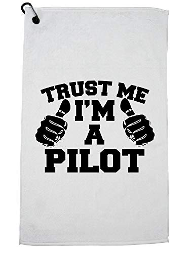 Hollywood Thread Trust Me I'm A Pilot - Two Thumbs Fun Golf Towel with Carabiner Clip